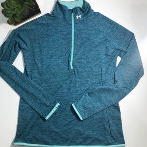 UNDER ARMOUR Blue Threadborne Half-Zip Top